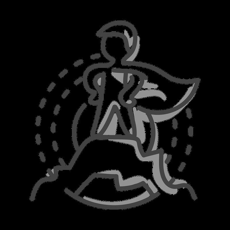 Strichmännchenfigur mit Cape steht heroisch auf einer Bergspitze