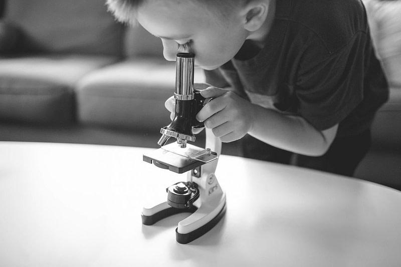 Kleiner Junge wirft einen Blick durchs Mikroskop um Details zu erkennen