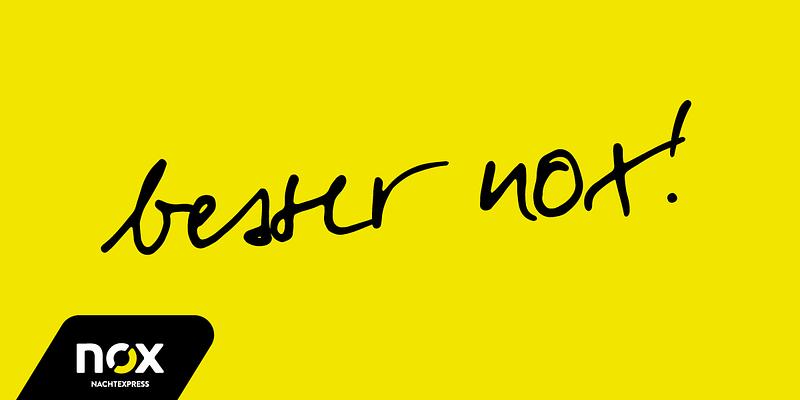 nox Nachtexpress Schriftzug Slogan Claim Werbekampagne Neukundenkampagne